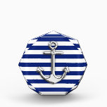 """Silver Anchor on Navy Blue Stripes Acrylic Award<br><div class=""""desc"""">A nautical chrome like anchor design graphic decor on blue stripes. A modern nautical gift sure to make an impression on, or off the boat. Here&#39;s a selection of fine custom casual embroidered baseball caps; in a nautical style, you can easily personalize to make it as unique as you are....</div>"""
