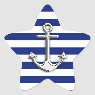 Silver Anchor on Navy Blue Stripes Star Sticker