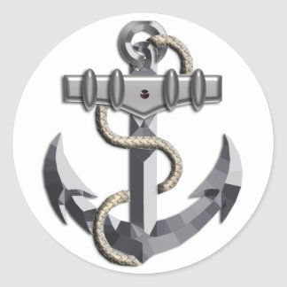 Silver Anchor Round Sticker