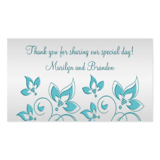 Silver and Aqua Floral Wedding Favor Tag Double-Sided Standard Business Cards (Pack Of 100)
