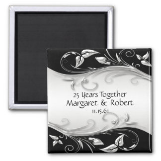 Silver and Black 25th Anniversary Magnet