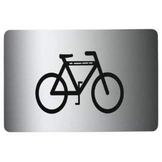 Silver and Black Bicycle Sports Floor Mat