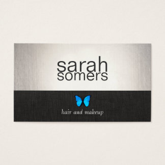 Silver and Black Blue Butterfly Salon and Spa Business Card