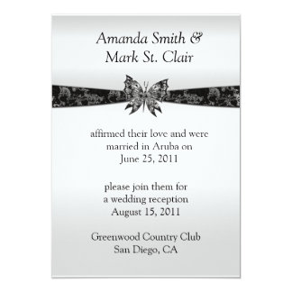 Silver and Black Butterfly Post Wedding Invitat Card