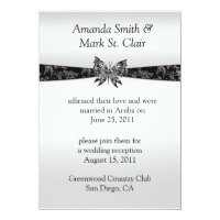 Silver and Black Butterfly Post Wedding Invitat 5&quot; X 7&quot; Invitation Card (<em>$2.27</em>)