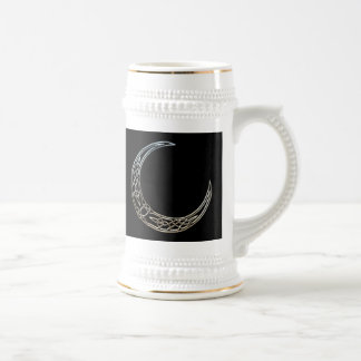 Silver And Black Celtic Crescent Moon Beer Stein