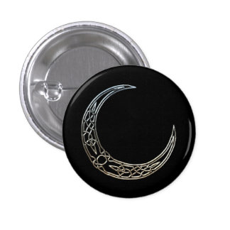 Silver And Black Celtic Crescent Moon 1 Inch Round Button
