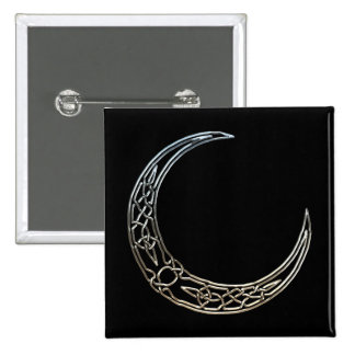 Silver And Black Celtic Crescent Moon Button