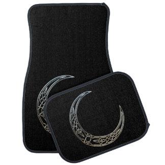 Silver And Black Celtic Crescent Moon Car Floor Mat