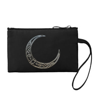 Silver And Black Celtic Crescent Moon Coin Wallet