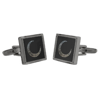 Silver And Black Celtic Crescent Moon Cufflinks