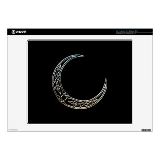 "Silver And Black Celtic Crescent Moon Decals For 14"" Laptops"
