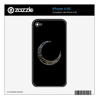 Silver And Black Celtic Crescent Moon Decals For The iPhone 4