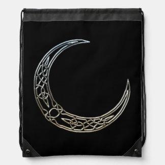 Silver And Black Celtic Crescent Moon Drawstring Bag