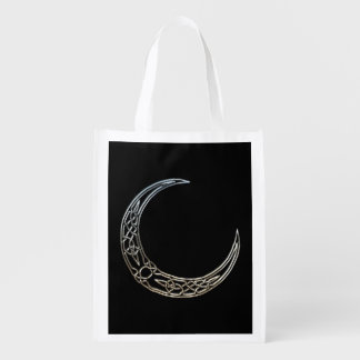 Silver And Black Celtic Crescent Moon Grocery Bag