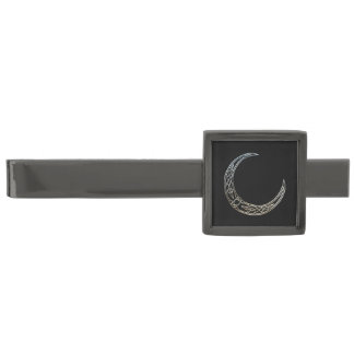 Silver And Black Celtic Crescent Moon Gunmetal Finish Tie Bar