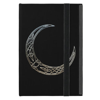 Silver And Black Celtic Crescent Moon iPad Mini Cover