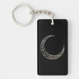Silver And Black Celtic Crescent Moon Double-Sided Rectangular Acrylic Keychain