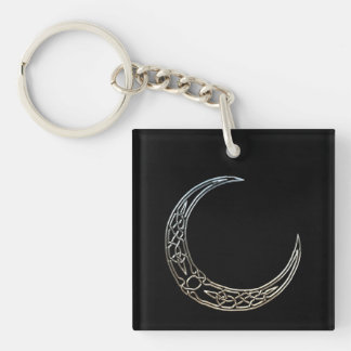 Silver And Black Celtic Crescent Moon Keychain