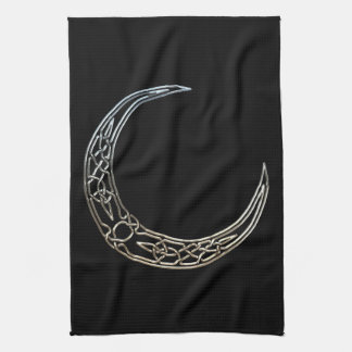 Silver And Black Celtic Crescent Moon Hand Towels