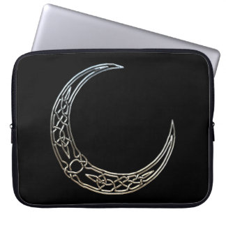 Silver And Black Celtic Crescent Moon Laptop Computer Sleeves