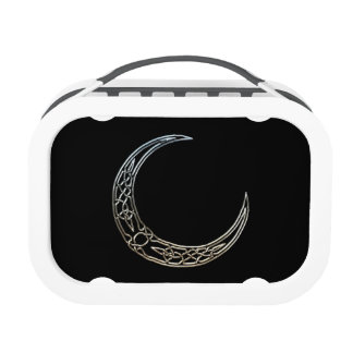 Silver And Black Celtic Crescent Moon Yubo Lunch Box