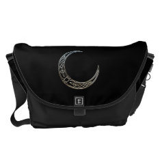 Silver And Black Celtic Crescent Moon Messenger Bag at Zazzle