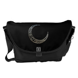 Silver And Black Celtic Crescent Moon Messenger Bag