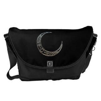 Silver And Black Celtic Crescent Moon Messenger Bag