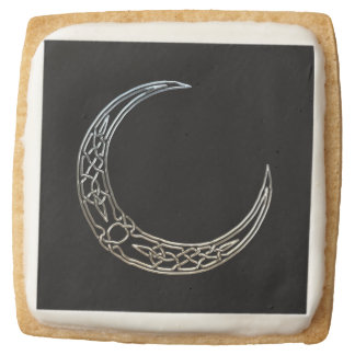 Silver And Black Celtic Crescent Moon Square Premium Shortbread Cookie