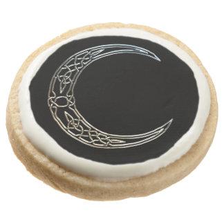 Silver And Black Celtic Crescent Moon Round Premium Shortbread Cookie
