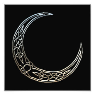 Silver And Black Celtic Crescent Moon Photo Print