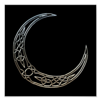 Silver And Black Celtic Crescent Moon Poster
