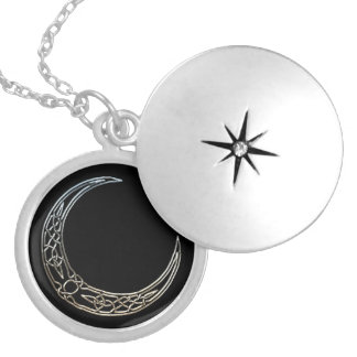Silver And Black Celtic Crescent Moon Round Locket Necklace