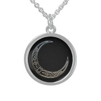 Silver And Black Celtic Crescent Moon Round Pendant Necklace