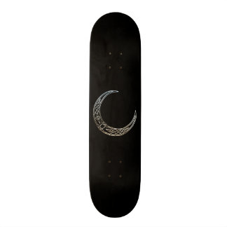 Silver And Black Celtic Crescent Moon Skateboard