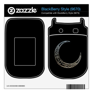 Silver And Black Celtic Crescent Moon Skin For The BlackBerry