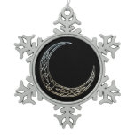 Silver And Black Celtic Crescent Moon Snowflake Pewter Christmas Ornament