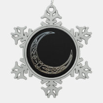 Silver And Black Celtic Crescent Moon
