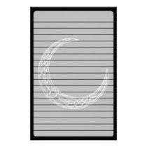 Silver And Black Celtic Crescent Moon Stationery