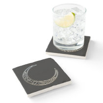 Silver And Black Celtic Crescent Moon Stone Coaster