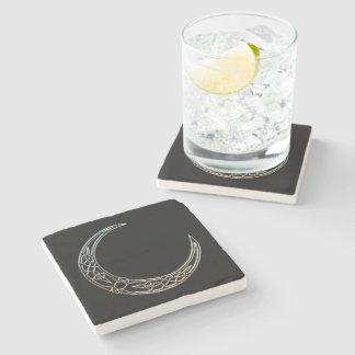 Silver And Black Celtic Crescent Moon Stone Coaster
