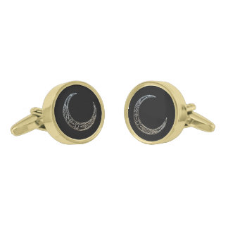 Silver And Black Celtic Crescent Moon Gold Finish Cuff Links