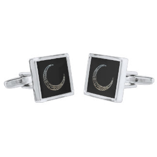 Silver And Black Celtic Crescent Moon Silver Finish Cufflinks