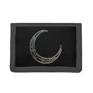 Silver And Black Celtic Crescent Moon Trifold Wallet