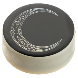 Silver And Black Celtic Crescent Moon Chocolate Covered Oreo