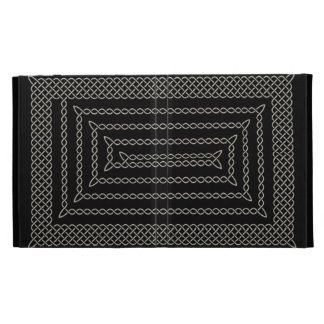 Silver And Black Celtic Rectangular Spiral iPad Case