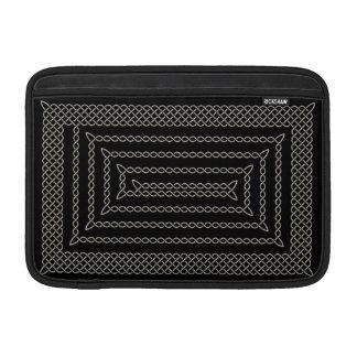 Silver And Black Celtic Rectangular Spiral MacBook Sleeves