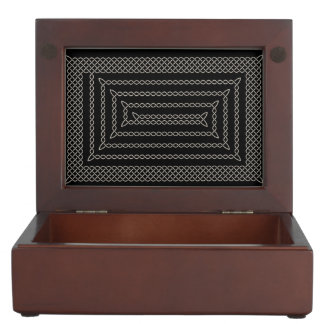 Silver And Black Celtic Rectangular Spiral Memory Box