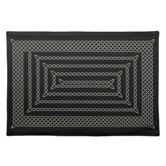 Silver And Black Celtic Rectangular Spiral Place Mats